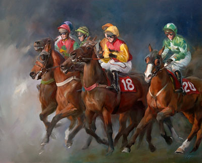 An equine, equestrian, racehorse and horse wall art canvas print of horses and jockeys at the Cheltenham Festival, by Jacqueline Stanhope.