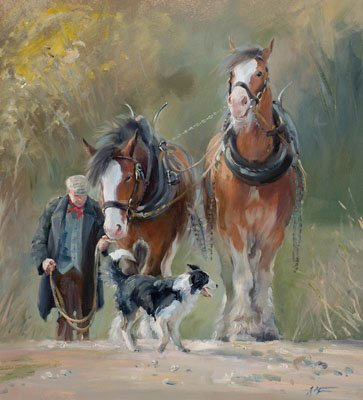 An equine, equestrian and horse wall art canvas print of Clydesdale horses and a collie dog, by Jacqueline Stanhope.