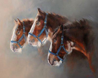 An equine, equestrian and horse art canvas print of Clydesdale horses by Jacqueline Stanhope.