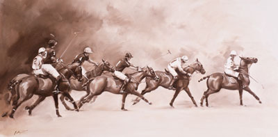 An equine, equestrian and horse polo wall art canvas print by Jacqueline Stanhope.