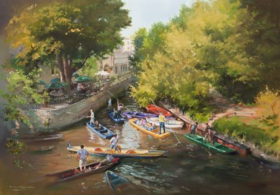 A canvas art print of punting on the River Cherwell at Magdalen Bridge, Oxford, by Jacqueline Stanhope.