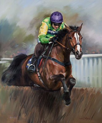 An equine, equestrian, racehorse and horse wall art canvas print of Kauto Star and jockey Ruby Walsh, by Jacqueline Stanhope.