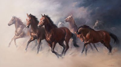 An equine, equestrian and horse wall art canvas print of mares and foals, by Jacqueline Stanhope.