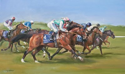 An equine, equestrian, racehorse and horse wall art canvas print of Frankel and jockey Tom Queally, by Jacqueline Stanhope.
