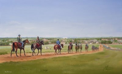 An equine, equestrian, racehorse and horse wall art canvas print of horses and riders on the Warren Hill gallops, Newmarket, by Jacqueline Stanhope