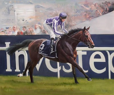 An equine, equestrian and horse art canvas print of Camelot and jockey Joseph O'Brien winning the Epsom Derby, by Jacqueline Stanhope.