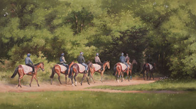 An equine, equestrian, racehorse and horse wall art canvas print of horses and riders on the Warren Hill gallops, Newmarket, by Jacqueline Stanhope.