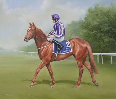 An equine, equestrian, racehorse and horse wall art canvas print of Australia and jockey Joseph O'Brien at the Epsom Derby, by Jacqueline Stanhope.