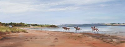 An equine, equestrian, racehorse and horse wall art canvas print of horses and riders at Woodstown Beach, County Waterford, by Jacqueline Stanhope.