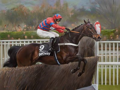 An equine, equestrian and horse art canvas print of Sprinter Sacre and jockey Nico de Boinville, by Jacqueline Stanhope.