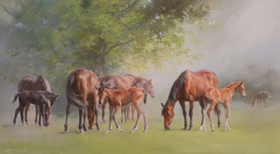 An equine, equestrian, racehorse and horse wall art canvas print of mares and foals in a paddock scene, by Jacqueline Stanhope.