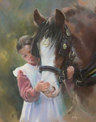 An equine, equestrian and horse wall art canvas print of a young girl and a Clydesdale, by Jacqueline Stanhope.