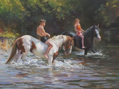 An equine, equestrian and horse wall art canvas print with ponies and riders in water and sunshine, by Jacqueline Stanhope.