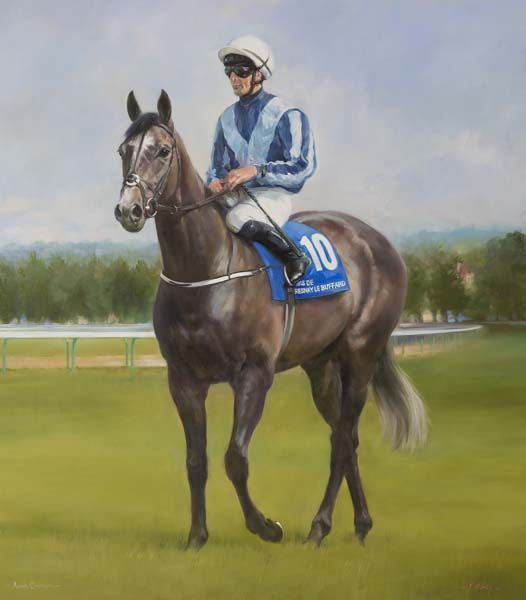 An equine, equestrian, racehorse and horse wall art canvas print of Alpha Centauri and jockey Colm O'Donoghue, by Jacqueline Stanhope.
