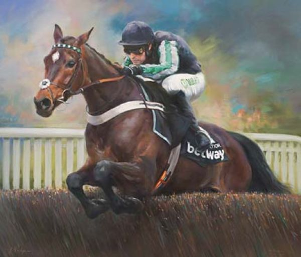 An equine, equestrian, horse and racehorse wall art canvas print by Jacqueline Stanhope of Altior and jockey Nico de Boinville.