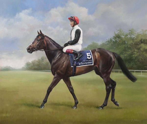 An equine, equestrian, racehorse and horse wall art canvas print of Epsom Derby winner Golden Horn and jockey Frankie Dettori, by Jacqueline Stanhope.